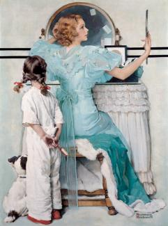 Rockwell's oil on canvas of a woman in a blue dress in front of a vanity with her daughter and dog watching.