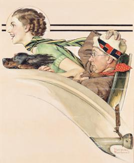 Rockwell's oil on canvas of a couple in a rumble seat with the woman and her dog smiling and the man scared while holding on to his hat.