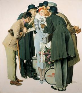 Rockwell's oil on canvas of a movie scarlet surrounded by reporters.