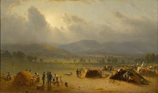 Gifford's oil on canvas of a camp in the landscape with tents in the foreground, trees in the middle ground, and the mountains in the background.