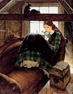 Rockwell's oil on canvas of a woman sitting on a couch in an attic writing.