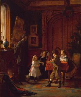 Johnson's oil on canvas of a family inside an interior dwelling celebrating Christmas.