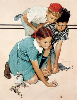 Rockwell's oil on canvas of three children playing marbles.