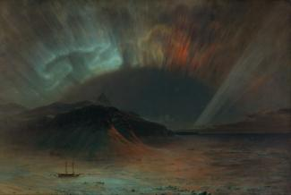Church's oil on canvas of the Aurora Borealis with mountains in the middle ground and the painted sky in the background.