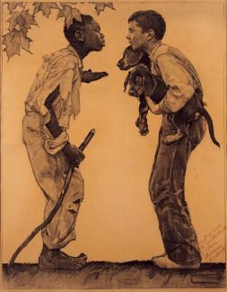 Rockwell's oil on canvas of a black boy in torn clothes and no shoes talking to a white boy with two dogs and nicer clothes.