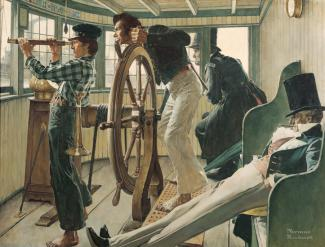 Rockwell's oil on canvas of an inside of a ship where there is one man sleeping, one watching out with a telescope, one man watching out the window, and another steering.