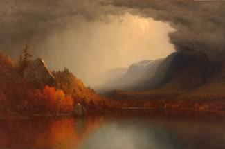 Gifford's oil on canvas of a storm coming off the mountains and into a valley with water.