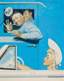 Rockwell's oil on canvas of two men in a blue truck trying to flirt with a pretty lady in a car.