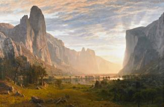 Bierstadt's oil on canvas of Yosemite Valley with greenery in the foreground, the valley in the middle ground and the rock formations in the background.