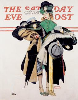 Rockwell's oil on canvas of a woman with coats and hats piling up in her arms.