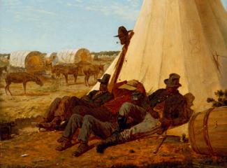 Homer's oil on canvas of figures resting against a teepee with wagons in the background.