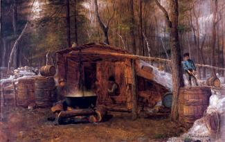 Johnson's oil on canvas of a cottage in the woods with a pot stewing on the fire outside.