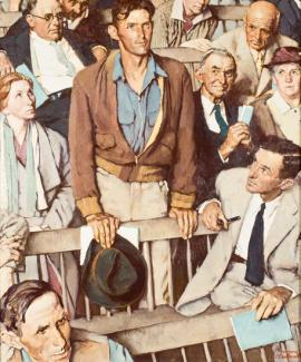 Rockwell's oil on canvas of a man standing up with others in the crowd watching him.