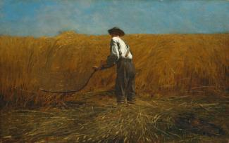 Homer's oil on canvas of a man harvesting in a field of wheat.