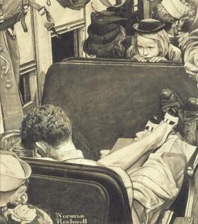 Rockwell's charcoal on paper of a little girl on a train looking back at a couple kissing.