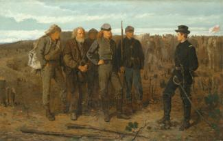 Homer's oil on canvas of prisoners talking to a man dressed as a soldier.