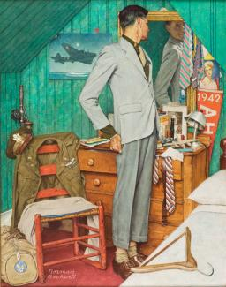 Rockwell's oil on canvas of a man in a suit checking himself out in the mirror.