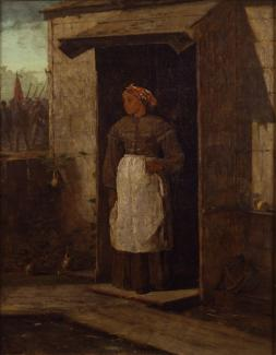 Homer's oil on canvas of a woman in her doorway looking out in the distance.
