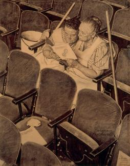 Rockwell's charcoal on paper of two women sitting in a theater reading from a book.