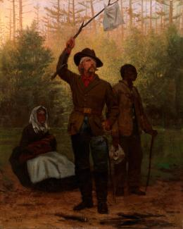 Scott's oil on canvas of a confederate soldier surrendering with a white cloth on a tree branch.