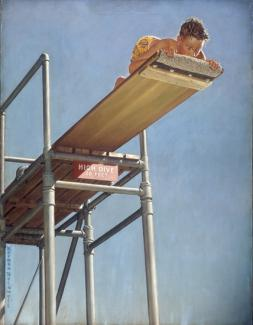 Rockwell's oil on canvas of a boy on a diving board up high peeping off the edge like he is scared.