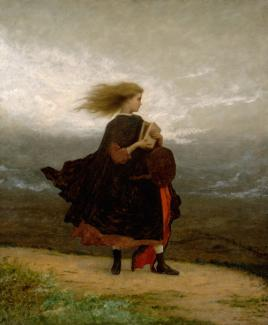 Johnson's oil on canvas of a girl on the top of a hill dressed in a dress and overcoat with the wind blowing her hair.
