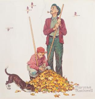 Rockwell's oil on canvas of a grandpa and grandson raking leaves with their dog around.