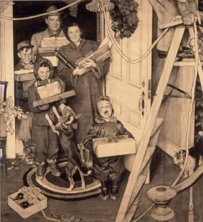 Rockwell's charcoal and crayon on paper of a family entering a house with christmas presents.