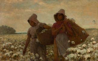 Homer's oil on canvas of two figures in a cotton field picking cotton.