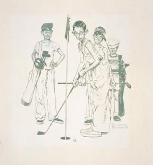 Rockwell's oil and pencil on canvas of four boys playing golf.