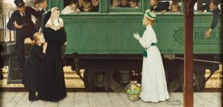 Rockwell's oil on canvas of woman greeting an orphan boy off of a train.