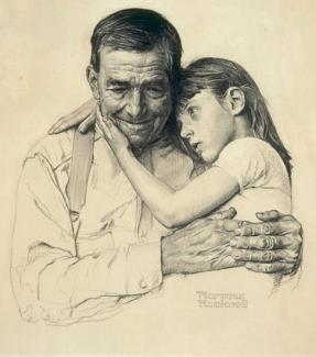 Rockwell's charcoal on paper of a father and his father embracing.