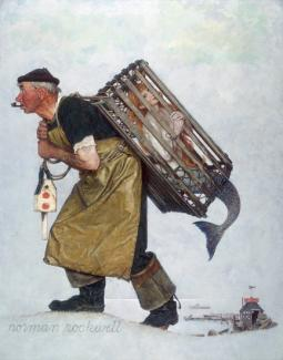 Rockwell's oil on canvas of a fisherman carrying a crate with a mermaid inside.