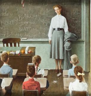 Rockwell's oil on canvas of a teacher in a classroom in front of her students.