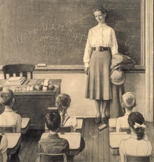 Rockwell's pencil on paper of a teacher in a classroom in front of her students.