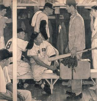 Rockwell's charcoal on paper of baseball players in a locker room with a man dressed in a suit holding a suitcase.