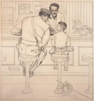 Rockwell's pencil on paper of an officer and a boy sitting on chairs at an ice cream shop.