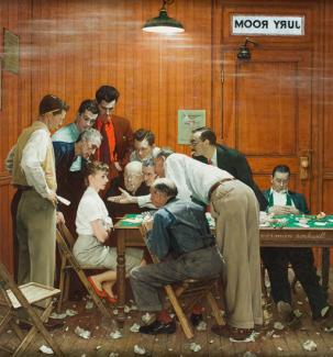 Rockwell's oil on canvas of a woman sitting down surrounded by men inside a jury room.