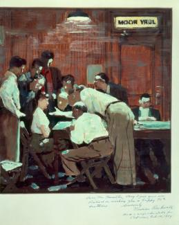 Rockwell's oil on paper of a woman sitting down surrounded by men inside a jury room.