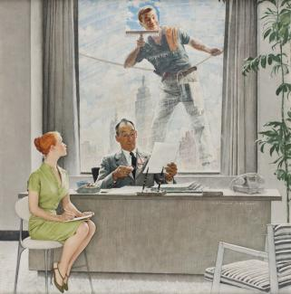 Rockwell's oil on canvas of a man washing windows and smiling at a woman interviewing for a job inside the building.