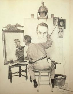 Rockwell's charcoal and pencil on board of a triple self portrait where it is a drawing of him looking at himself through a mirror and drawing it on a canvas.