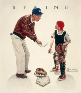 Rockwell's oil on canvas a father teaching his son how to play baseball.