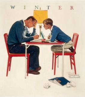 Rockwell's oil on canvas of a father and son working at a kitchen table doing homework.