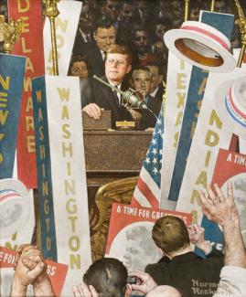 Rockwell's oil on canvas of JFK's Democratic National Convention in 1964.