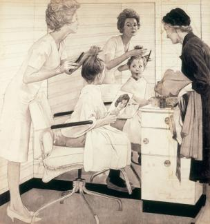 Rockwell's pencil on paper of a woman cutting a little girls chair at a salon.
