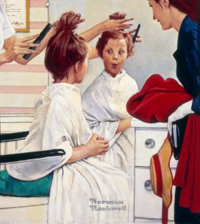 Rockwell's oil on canvas of a girl sitting at a salon getting her hair cut.