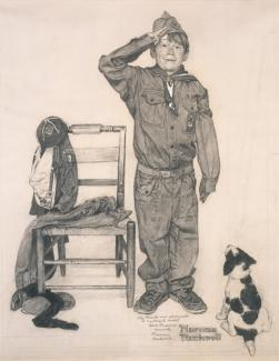 Rockwell's charcoal on paper of a boy dressed in a baggy Boy Scout uniform.