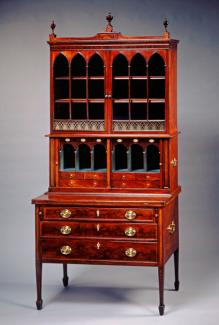 An image of a Thomas Seymour's desk and bookcase made from mahogany.