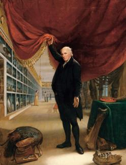 Peale's oil on canvas of himself in his museum holding up a red curtain.