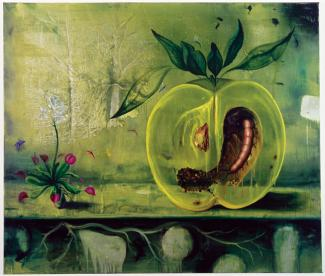 Rockman's oil painting of a mealworm inside a large green apple.